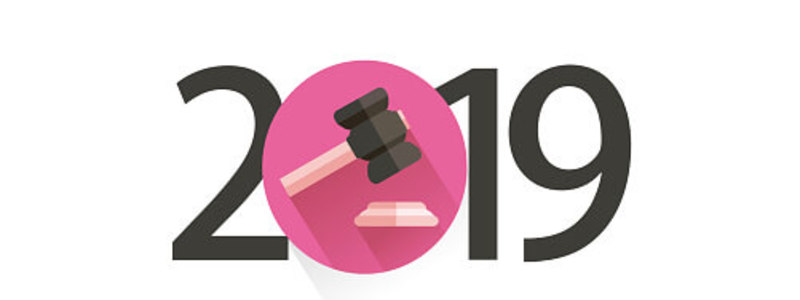 Legal Blog Header Image. Featuring  2019 Date Stamp With A Gavel